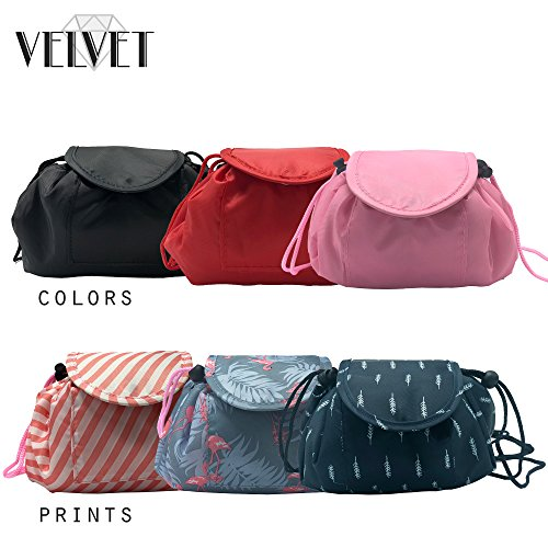 Toiletry Travel Bag | Lazy Drawstring Makeup Organizer with Magnetic Snap | Waterproof Cosmetic Pouch for Women, Men, Girls (Large 18 inches, Blue Feathers) by VelvetBags (Image #7)