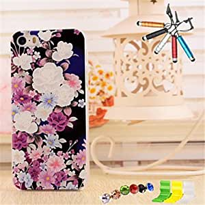 DD 3D Relief Purple Flowers Pattern PC Material with Stylus Anti-Dust Plug and Stand portfolio for iPhone 5/5S