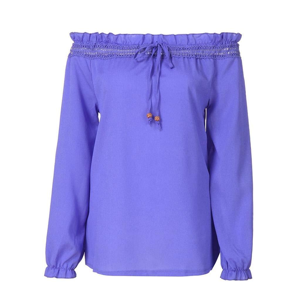 Belasdla Elegante Camisa De Manga Mujer Collar De Una Palabra Encaje Costura Color SóLido Cuerno Manga Larga Camisa De Gasa Top Camiseta: Amazon.es: Ropa y ...