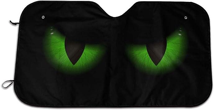 Bargburm Sonnenblende Für Die Windschutzscheibe Grün Mit Bösen Augen Für Auto Suv Lkw 129 5 X 69 8 Cm Faltbar Uv Strahlen Reflektor Frontscheibe Auto