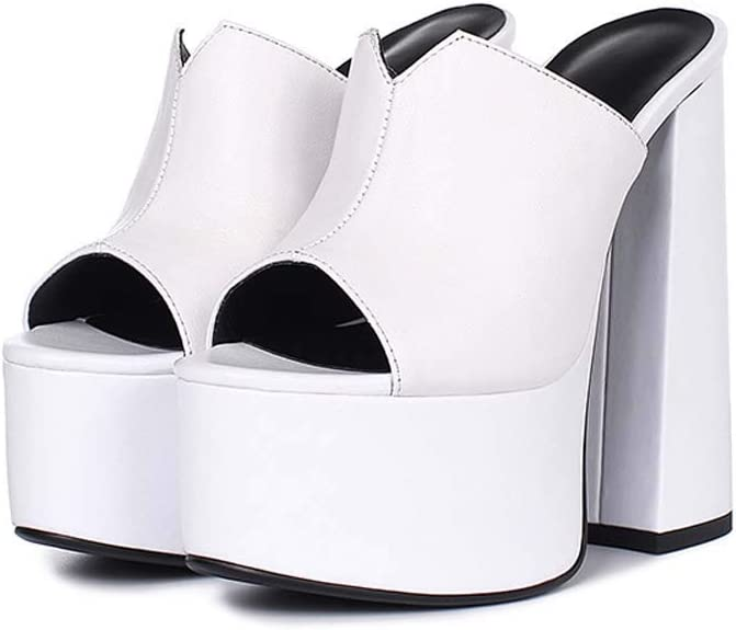 Lxlux Bloquer Talon Plate-Forme Plate-Forme Sandales Chaussons Talons White