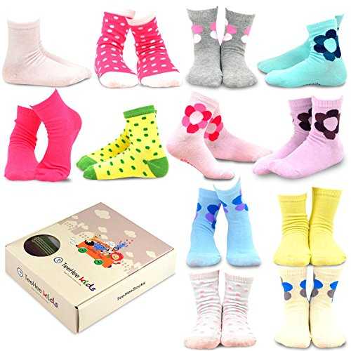 Dot Flower Girl - Naartjie Kids Girls Cotton Polka Dots & Flower Short Crew Socks 12 Pair Pack (9-10Y)