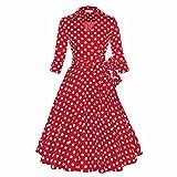 Samtree Womens 50s Style Half Sleeves Deep V Neck Vintage Swing Polka Dot Dress(S(US 4-6),Red Polka Dot)