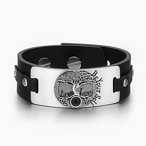 Celtic Black Onyx (Tree of Life Live Love Be Your Self Celtic Amulet Simulated Black Onyx Adjustable Black Leather Bracelet)