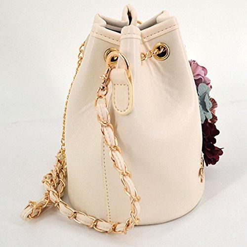 beige Drawstring PU Chain Women Bag Shoulder Bag X Plant Printing Leather Embroidery Bucket Cactus TFwwOxRIq