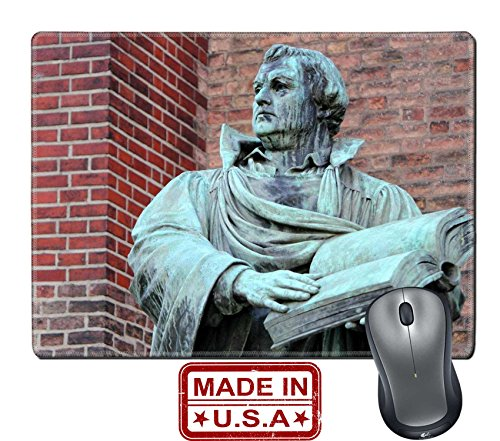 """Liili Natural Rubber Mouse Pad/Mat with Stitched Edges 9.8"""" x 7.9"""" Martin Luther sculpture of Martin Luther in front of St Marien Church Berlin Photo 8807233"""