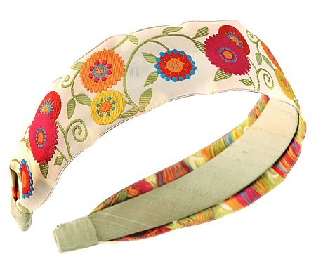 L. Erickson USA Suzani Flower Ribbon Headband - Natural/Pistachio