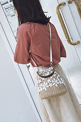 Brown Lace Shoulder Khaki Straw Women Crossbody Knitting Bag Hand Bag Beach Bag Outdoor Bag 7p4qzx5wH