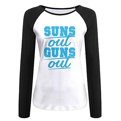 Creamfly Womens Sun's Out Guns Out Long Sleeve Raglan Baseball Tshirt - Sunglasses Harris Calvin