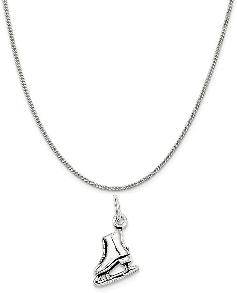 Mireval Sterling Silver Antiqued Ice Skate Charm on a Sterling Silver Chain Necklace 16-20
