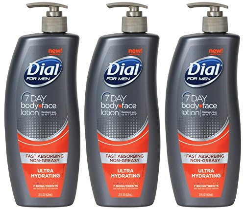 Dial Replenishing 7 Day Body and Face Lotion for Men - 21 oz Dial (Pack of 3)