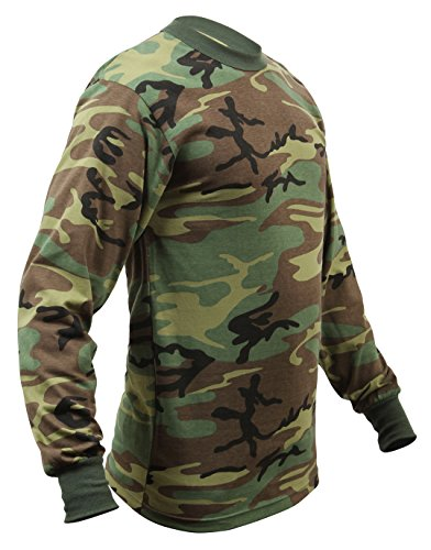 Rothco Long Sleeve T-Shirt, Woodland Camo, Medium