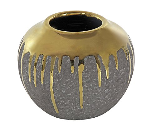 Deco 79 42377 Decorative Ceramic Urn Vase, 6'' x 7'', Gray/Gold by Deco 79