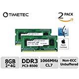 Timetec Hynix IC Apple 8GB Kit (2x4GB) DDR3 PC3-8500 1066MHz memory upgrade for iMac 21.5-inch/27-inch/20-inch/24-inch, MacBookPro 17-inch/ 15-inch/ 13-inch, Mac mini (8GB Kit (2x4GB))