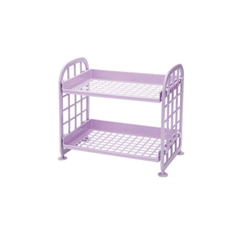 Double Bathroom Storage Rack Plastic Corner Rack Storage Rack Rounded Corner Smooth And Stable Ventilation 21.5 14 20cm (Color : Purple, Size : 21.51420cm)