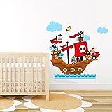 Autocollants animaux de la jungle sur bateau pirate, décor mural pour chambre d'enfants