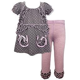 Rock & Clay Little Girls\' Summer Embellished Top & Leggings Set, 2T-6X (2T, Pink Multi)