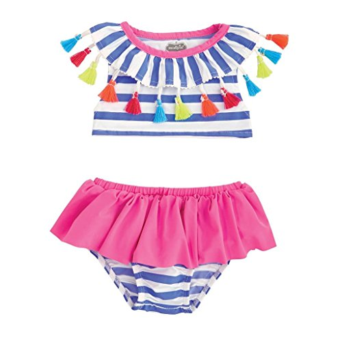 Mud Pie Baby Girls Tassel Stripe Two Piece Swimsuit, Blue, 4T