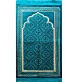 FREE Prayer Cap & Beads, Turquoise Blue Islamic Prayer Rug Janamaz - Plush Velvet BEST Quality