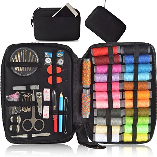 Sewing Kit - Over 130 DIY Premium Sewing Supplies, Portable & Complete Sew Kit for Traveller, Beginner, Emergency - Filled with Mending Supplies and Sewing Accessories (Kit) by Poppin Kicks