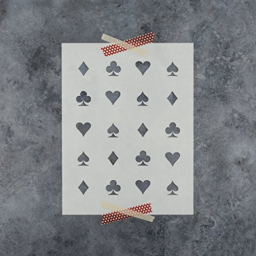 Hearts Clubs Diamonds Spades Stencil Template - Reusable Pattern Stencil with Multiple Sizes Available (Spade Heart Diamond)