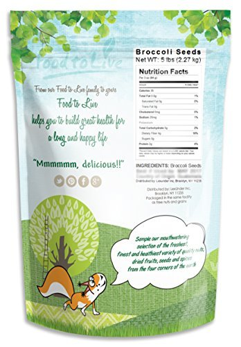 Food to Live Las semillas de brócoli para brotar (Kosher) 2.3 Kg: Amazon.es: Alimentación y bebidas