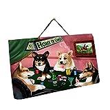Home of Corgi 4 Dogs Playing Poker Photo Slate Hanging