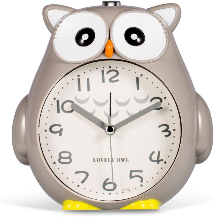 Dual Alarm Clocks, Silent Non-Ticking Loud Alarm with Night Light and Snooze, Battery Operated & Easy to Set, Cool Owl Decorative Clocks for Kids, Boys Bedroom - Gary