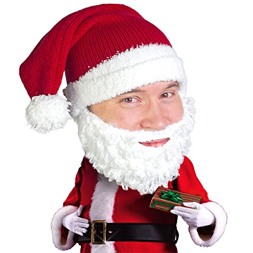 Beard Head Knitted Santa Beard Hat with Comfy Funny Beard Facemask ()