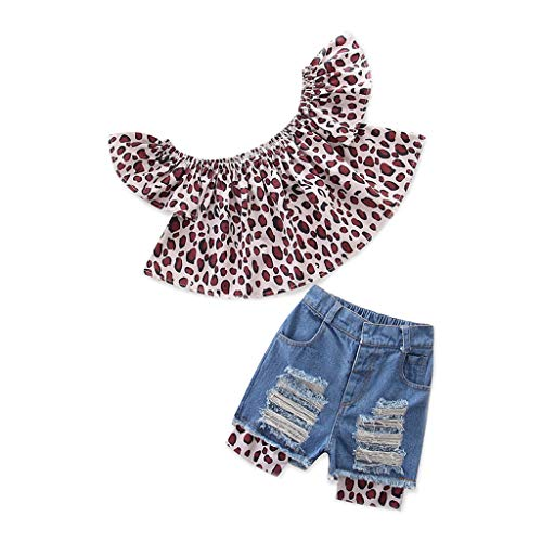 Baby Girls Shorts Set, Waymine Kids Leopard Print Off Shoulder Tops+Hole Pants Outfits Brown