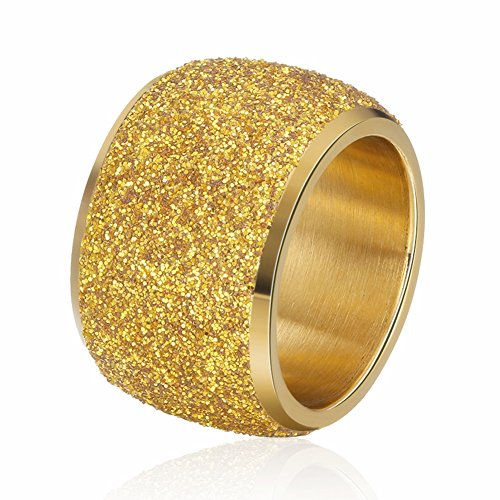 - INRENG Women's Men's Stainless Steel Ring Shiny Sequins Pave Sandblast 16mm Wide Wedding Band Gold Size 9