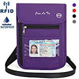 Neck Wallet, WACCET Water-Resistant Passport Holder Pouch with RFID Blocking, Women Men Travel Pouch Wallet for Passport Phone Credit Cards Cash and Documents (Purple)