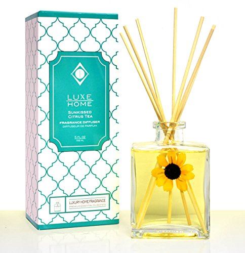 NEW! LUXE Home Sunkissed Citrus Tea Essential Oil Reed Diffuser | Fresh, Citrus Tea & Honey Scent by LUXE Home