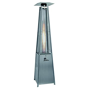 Palm Springs Pyramid Quartz Glass Tube Dancing Flame Patio Heater    Stainless Steel