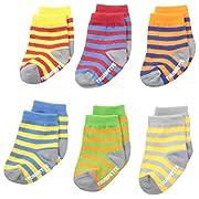 Trumpette Baby-Boys 6-pairs Newborn Bright Strips socks, Multi, 0-12 Months
