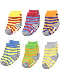 Baby-Boys 6-pairs Newborn Bright Strips socks, Multi, 0-12 Months