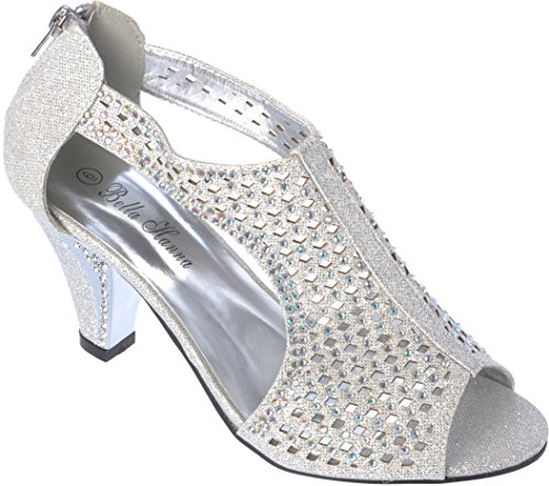 Bello Hanna Rhinestone Women Dress Shoes Sandal Evening Silver FBqCS
