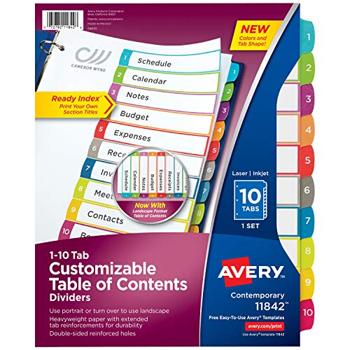 (Avery 10-Tab Binder Dividers, Customizable Table of Contents, Contemporary Multicolor Tabs, 1 Set (11842))