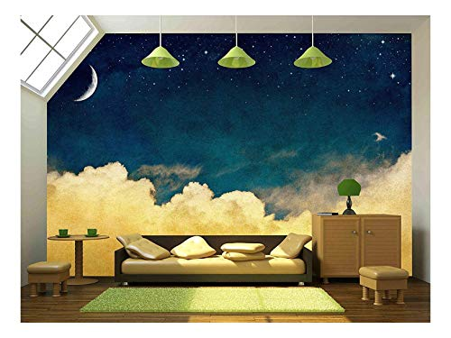 A Fantasy Cloudscape with Stars and a Crescent Moon Overlaid with a Vintage Textured Watercolor Paper Background