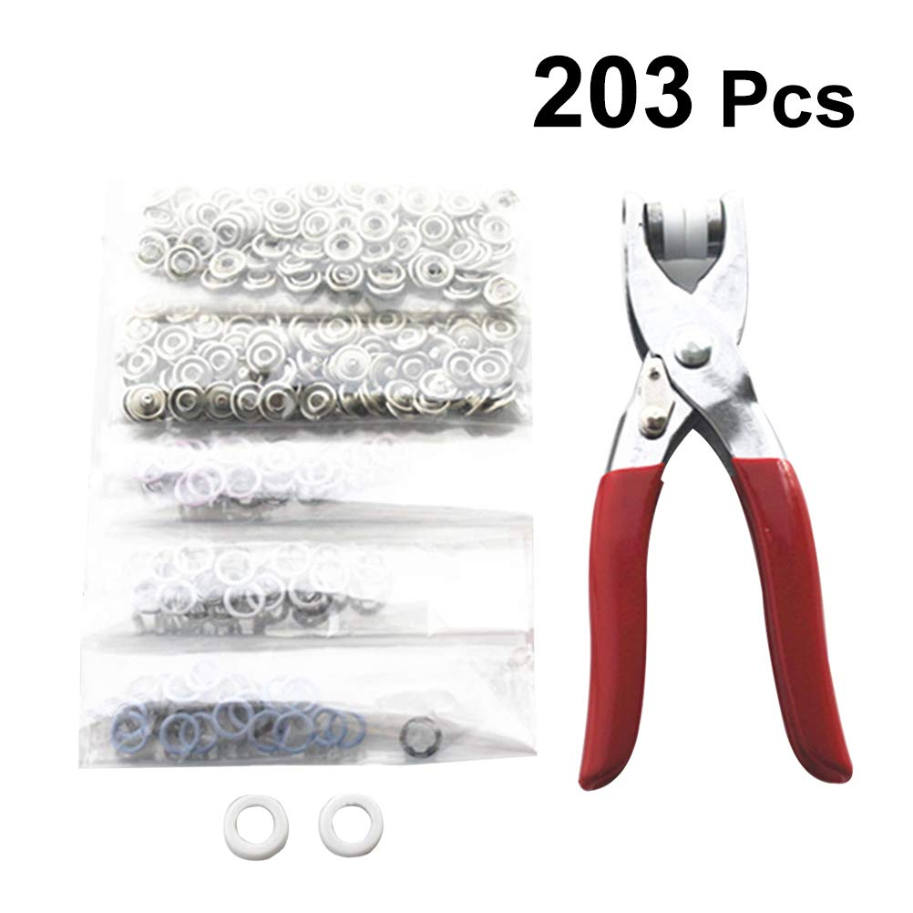 LIOOBO Snap Fasteners Tool Kit Metal Grommet Kit with Plier and 2 Rubber Sleeve for DIY Sewing Crafts 9.5mm 203pcs