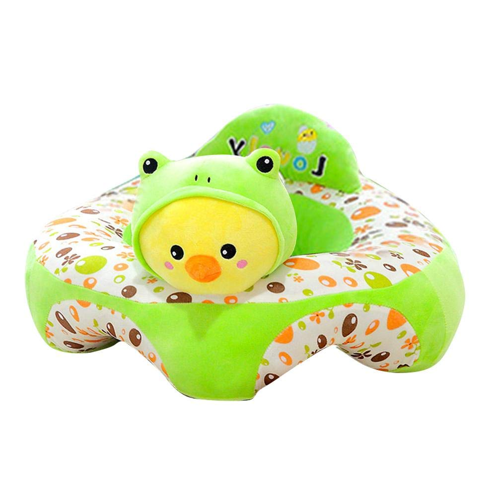 Sof/á de peluche para beb/é sof/á extra/íble asiento de beb/é con dibujos animados lavable coj/ín de felpa para ni/ños y ni/ños asiento de apoyo para beb/é rana verde
