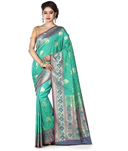 Maahir Garments Exclusive Indian Ethnicwear Sea Green Coloured Banarasi Silk Uppada Saree by Maahir Garments