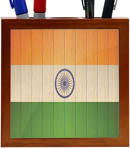 Rikki Knight India Flag on Distressed Wood Design 5-Inch Wooden Tile Pen Holder (RK-PH8594)