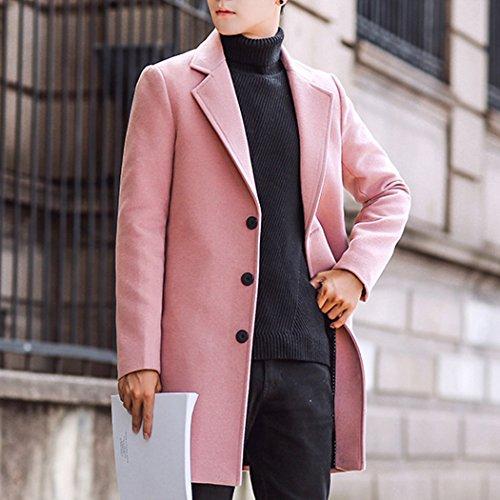 Classique Automne Hanmax Casual Manteau Laine De Slim longue Rose Unie Trench Mi Hiver Couleur Pâle Coat Homme 4xTO6Y0x
