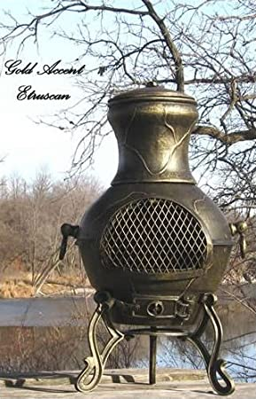 Chiminea Outdoor Fireplace Wood Burning Etruscan Design Amazon Co