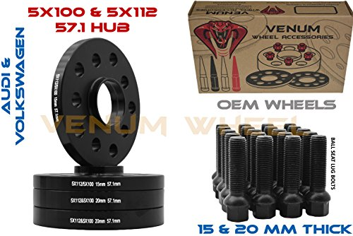 4pc Staggered Set of 15mm and 20mm Hubcentric Black Audi Volkswagen Wheels Spacers 57.1 HUB 5x100/5x112 Bolt Pattern+ 20 Black Ball Seat Lug Bolts