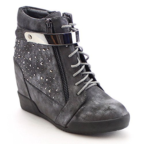 NATURE BREEZE FRONTRUNNER-03 Women's Studded Lace Up Side Zip Wedge Ankle Bootie, Color:PEWTER, Size:7.5