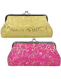 """Oyachic 2 Packs Coin Pouch Phone Purse Silk Folk-custom Clasp Closure Wallet Gift 7.1"""" L X 3.7"""" H"""