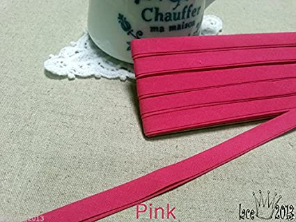30Yds Bias Tape Poly Cotton trim 10mm Solid colour double fold Pink