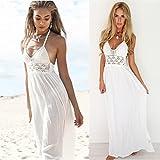 Hot Sale! Auwer Women Beach Crochet Backless Bohemian Halterneck Evening Party Maxi Long Dress A-Line Loose Pure Dress, 2018 New Sunmer Women Sleeveless Dress (L, White)